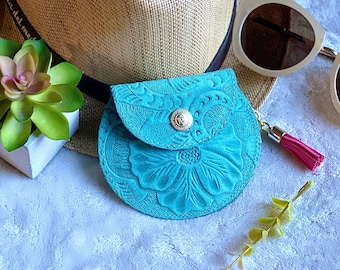 Carved leather Small Bag-  pouch for purse- Small bag- pouch for purse - Coin purse woman- Gift for her