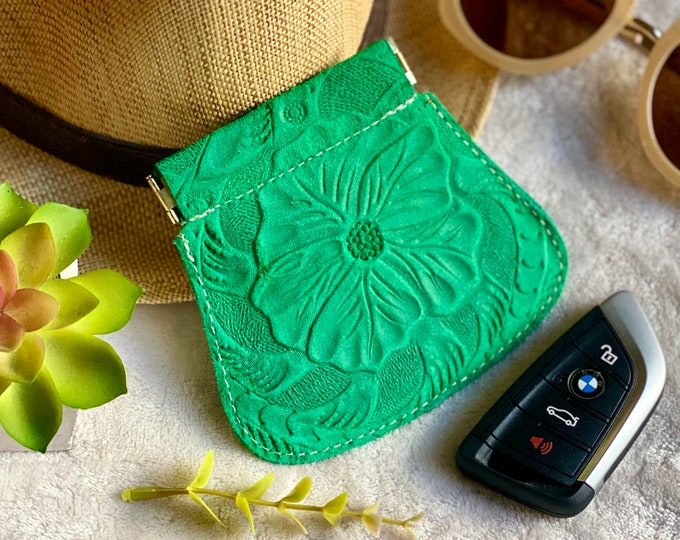 Handmade Leather Squeeze pouch-change purse- gifts for her
