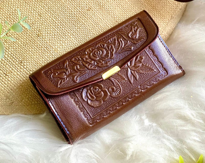 Handmade Leather woman wallet- Wallet Woman- Leather wallet woman- woman leather wallet- floral wallet- Gift for Woman