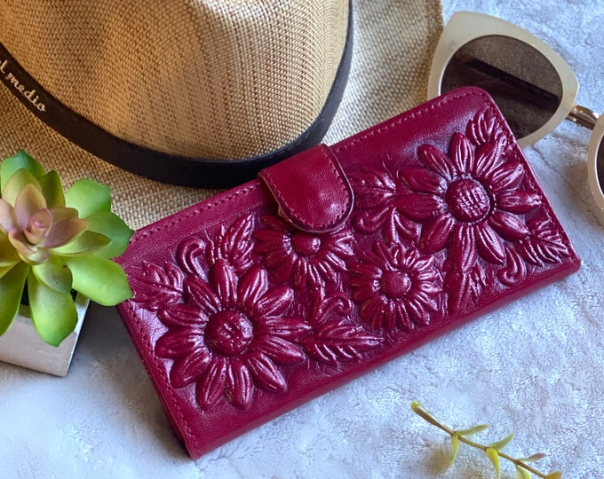 Handmade wallet leather- Sunflower wallets - women's wallet - red leather wallet - sunflower gifts - gift for her