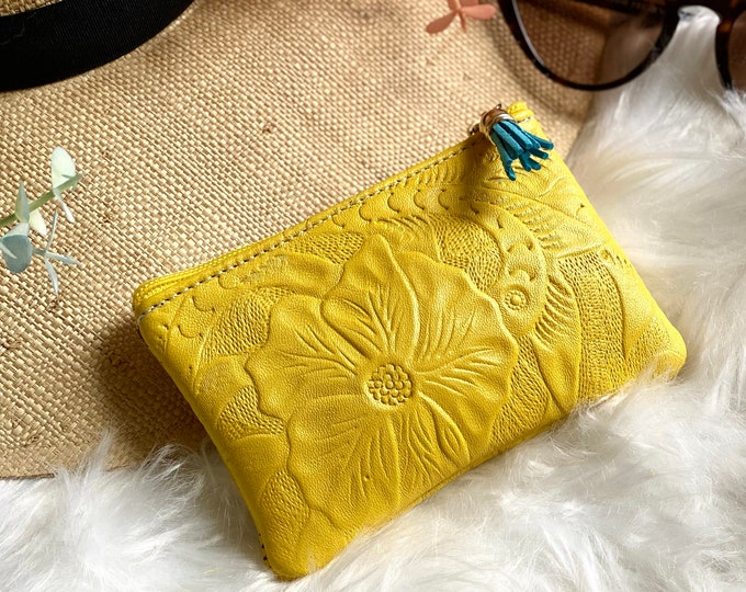 Small makeup bag for purse - small cosmetic bag - woman zipper pouch - gift for her-Embossed authentic leather woman pouch