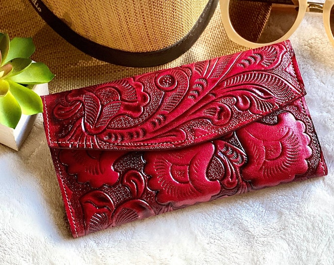 Leather wallet women-Red leather wallet-Gift for mom-Gift for her