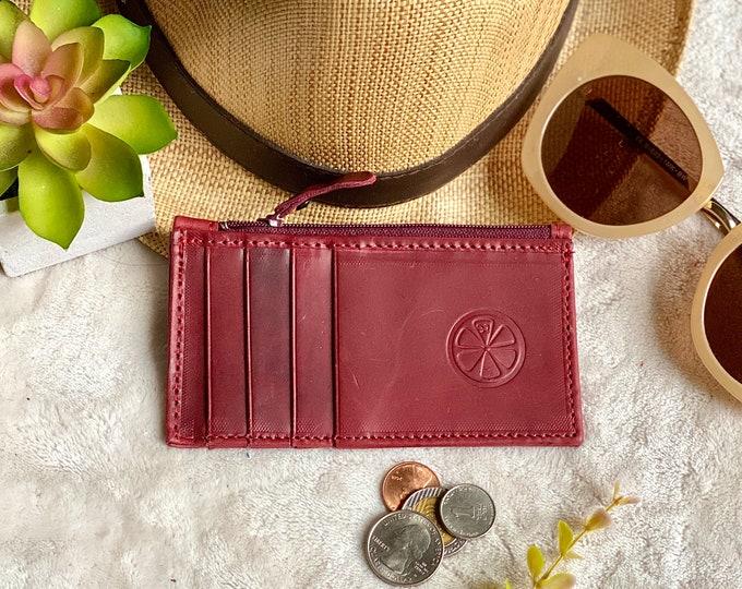 Handmade Leather card holder - card holder leather - card holder with zipper - gift for her - slim leather holder - minimalist wallet
