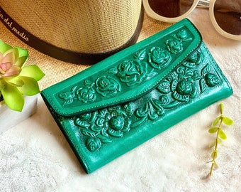 Handmade Women's leather wallet -Leather wallet for woman  -Gift for her -woman purse- green woman wallet
