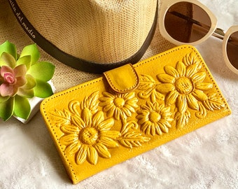 Sunflower purse - Leather Wallet Woman -  Gift for her- woman wallets - purse for woman