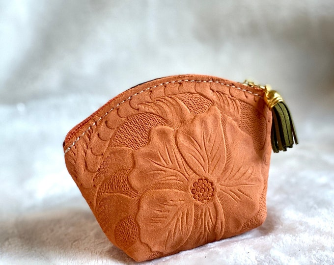 Small Cosmetic leather pouch  - Bohemian leather pouch -Change purse - Small Makeup bag - gifts for her