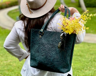 Authentic leather tote  bags for women • Gifts for her•  Tooled leather purse