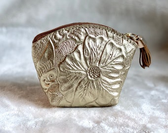 women leather coin purse  - Small Makeup Bag - Leather pouch - Travel pouch - woman pouch - Gift for her