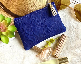 Leather small makeup bag for purse - Small leather bag - Cosmetic bag - gift for her- leather coin purse women -