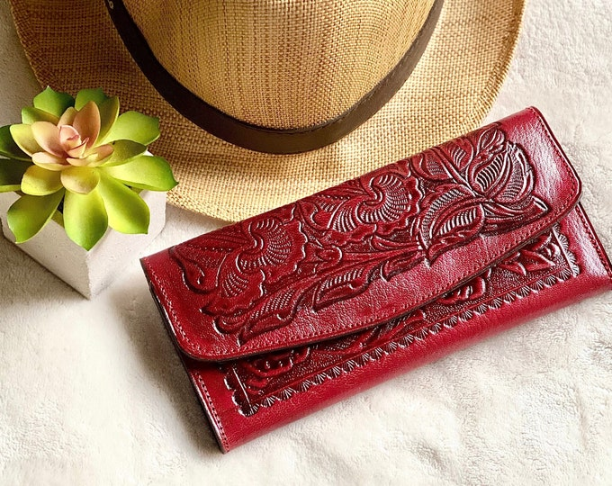 Leather woman wallet -  Bohemian leather wallet -  Wallets for woman - Western wallet - Gift for her - money wallet woman