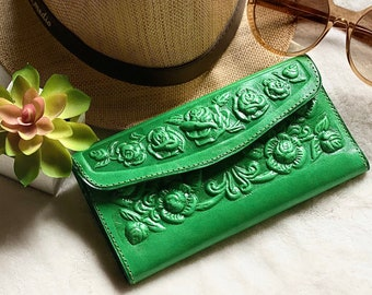 Wallet for women - Roses leather wallet - Gift for woman