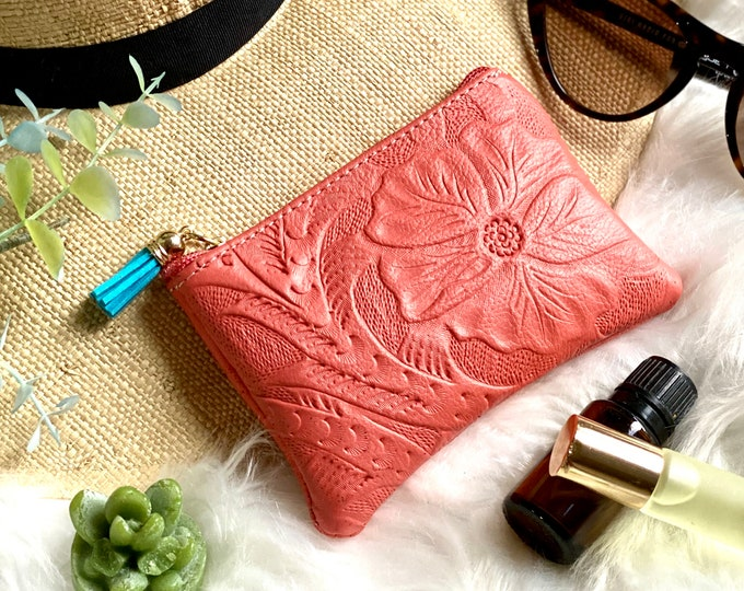 Handcrafted Embossed Leather zipper pouch - Purse cosmetic bag - essential oils storage - gifts for her