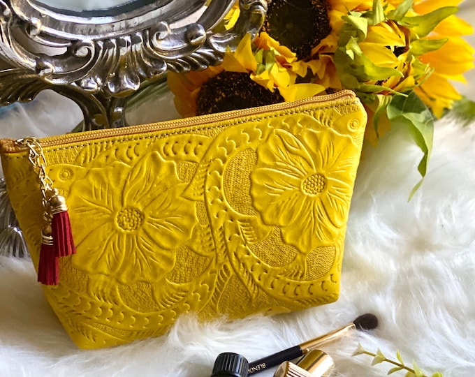 Authentic Leather Tooled Makeup Bag-  Handmade Cosmetic Bag- Gift for her- Leather Small Bag-  Toiletry Bag