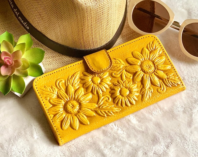 Sunflowers woman wallets, wallets for woman, leather purse wallet, leather wallet for woman- gift for her