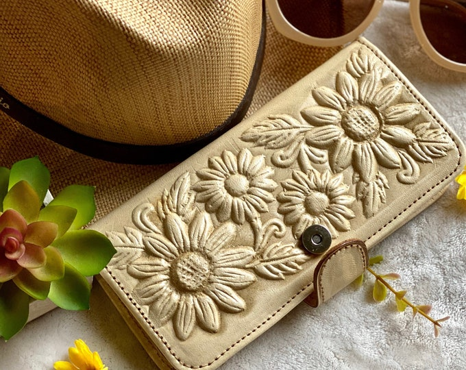 Handmade Leather wallet - Woman wallet - Women's wallet - Birthday Gift - sunflowers wallet