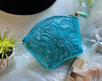 Leather pouch for women - zippered small pouch - Embossed leather small bag - small cosmetic bag - coin purse