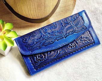 Authentic leather blue wallet - woman wallet - leather wallet - woman purse - Handmade woman wallet - gifts for her