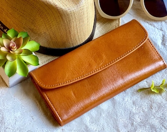 Handcrafted authentic leather bicolor woman wallets - woman wallet - woman purse - leather wallet - women's wallet - gift for her