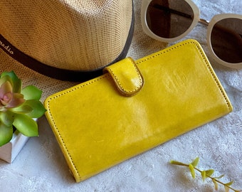 Authentic leather wallets - women wallets - Bicolor wallets - Gifts for her - Yellow wallet - credit cards wallets