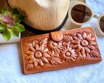 Handmade sunflowers leather wallet - sunflowers purse - woman wallet leather - gift for her - sunflowers gifts