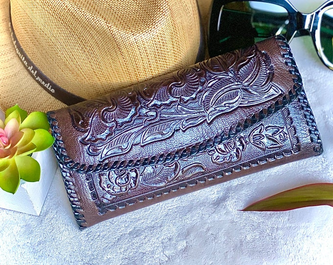 Bohemian Handcrafted Leather woman wallet - Western Style wallet - Credit card wallet leather for women- gift for her