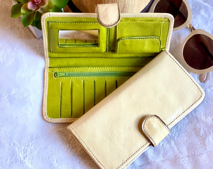 Women wallet leather - Small wallet for women - Bicolor women wallet- credit card wallet - leather purse - beige wallet - gift for her