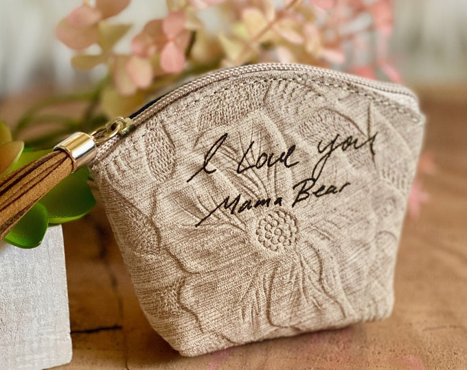 Custom Handwriting engraved leather zipper pouch • personalized signature gift • Meaningful gift
