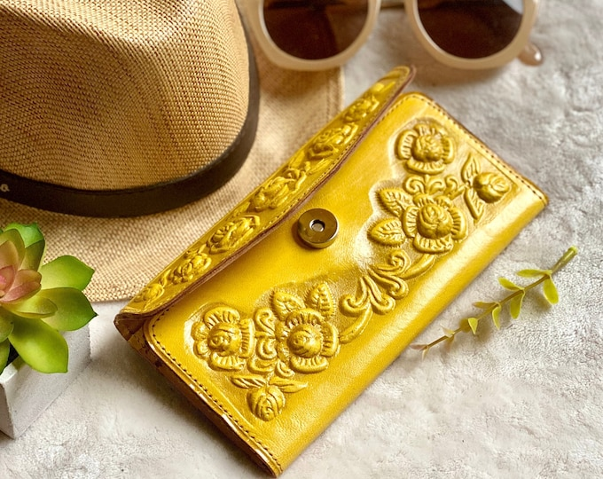 Vintage Style women wallets - Roses wallets - Yellow wallet - Wallets for women - Gifts for her