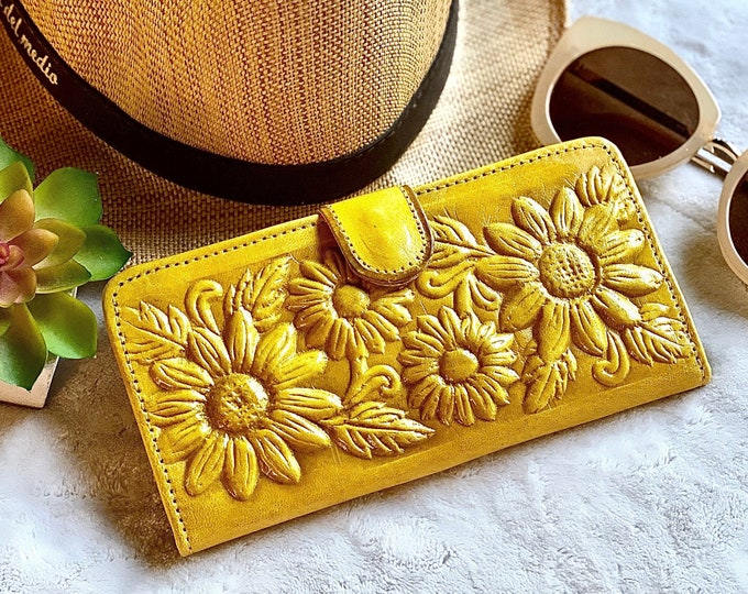 Handmade leather woman wallets • Sunflowers wallets • gifts for her