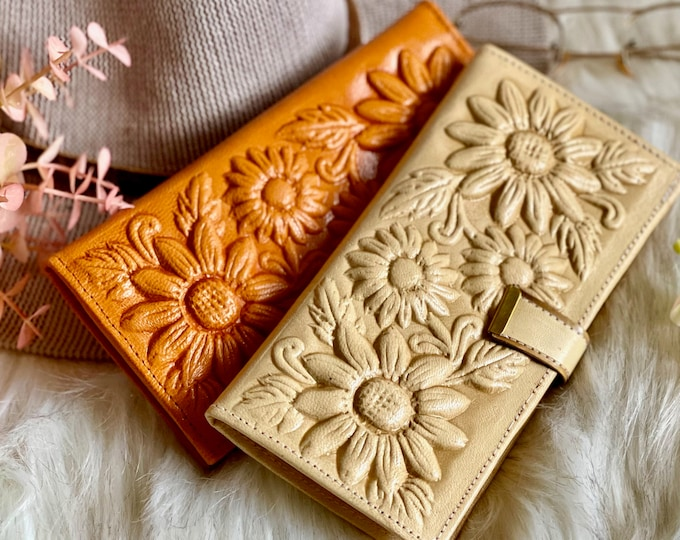 Authentic sustainable leather women's wallets • Boho wallets • Sunflowers Gifts