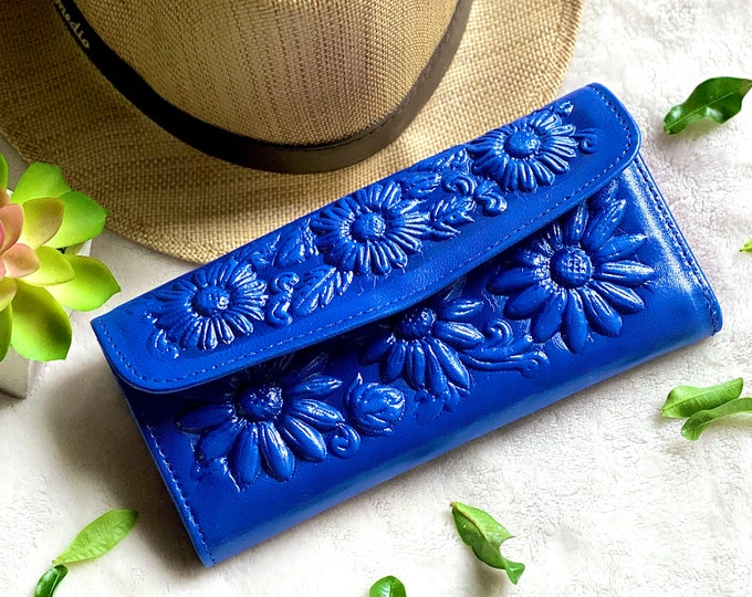 Handcrafted leather wallets for women- women's wallet -Sunflowers gifts - wallet woman leather