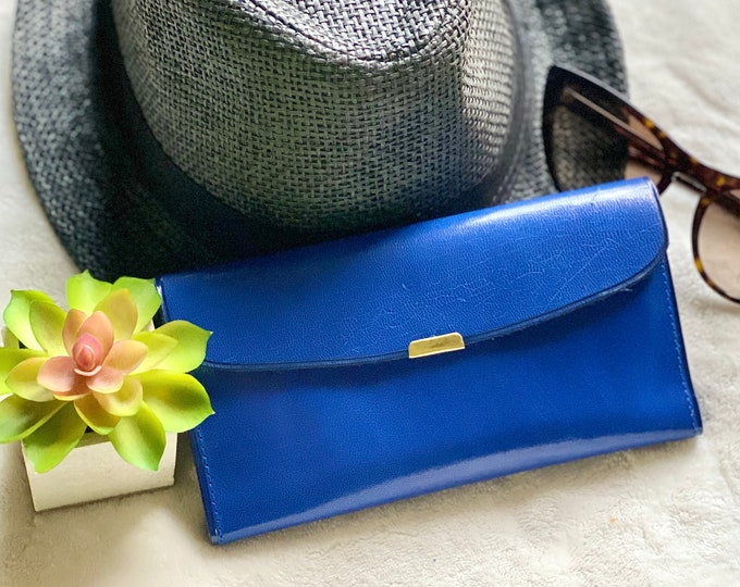 Blue Vintage Style woman Leather wallet  - Authentic Leather wallets for woman - gift for Woman- leather wallet - Slim Wallet