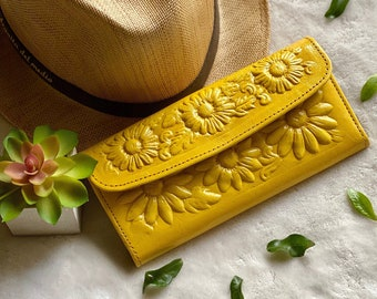 Bicolor Leather Sunflowers woman wallets, wallets for woman, leather purse wallet, leather wallet for woman- gift for her