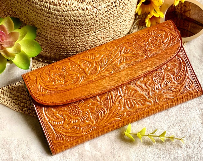 Tooled leather wallets for women - woman wallet - purse for women - woman wallet - birthday gift - gift for her