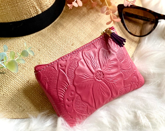 Small embossed leather women's bag • zipper bag • gifts for her