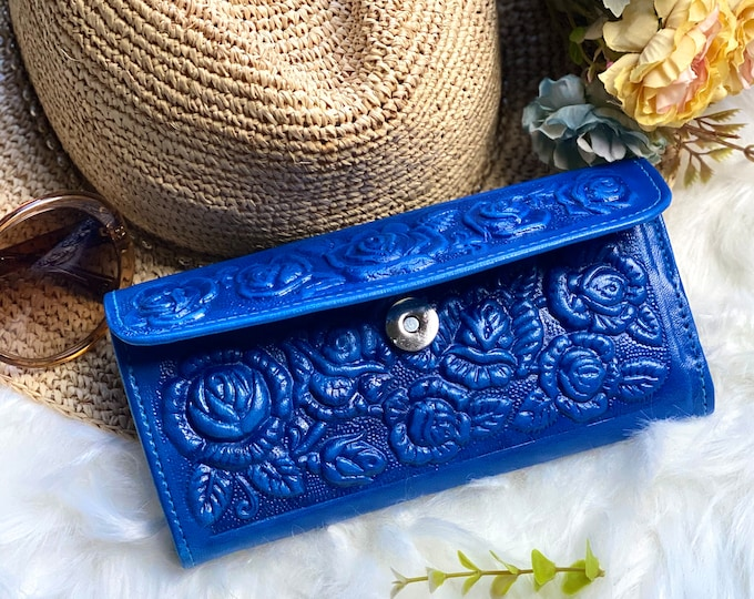 Authentic leather handmade roses wallet Vintage style - Woman wallet -Blue leather wallet - gifts for her -birthday gift -leather wallet