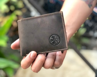 Handmade Authentic leather bifold wallet - gift for him - classic leather wallet - men's wallet leather