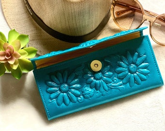 Handcrafted sunflowers wallet- leather woman wallets- wallets for woman,- gift for woman- gift for her