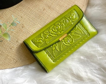Leather woman wallet - leather woman wallet- floral-leather women wallet- handmade leather wallet vintage style leather wallet
