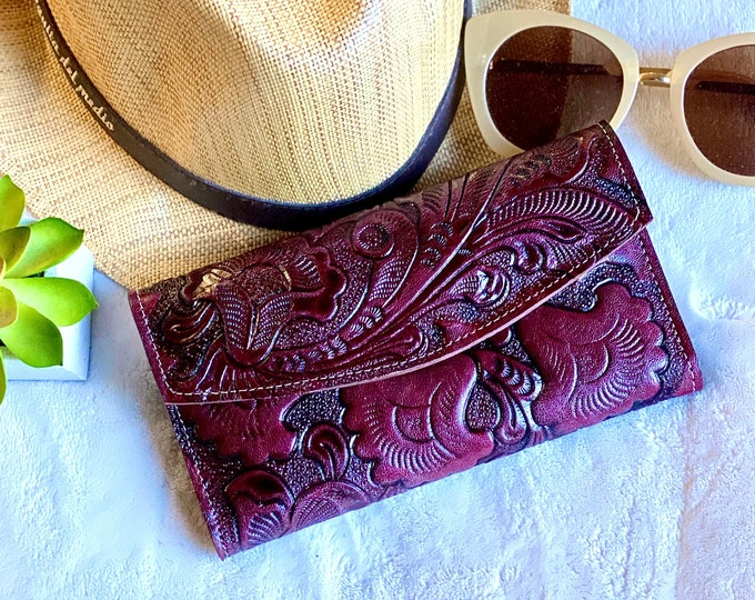 Handmade leather woman wallet -leather wallet - floral wallet woman - Leather wallet women's- gifts for her- wallets for her