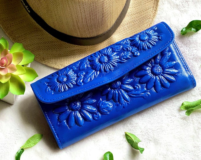 Bicolor women's wallets - Leather sunflowers woman wallets, wallets for woman, Sunflowers gifts - wallet woman leather