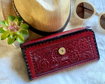 Red Handmade authentic leather wallets for women - Credit Card wallet-  woman purse - Gifts for her -western wallet -tooled wallet for women