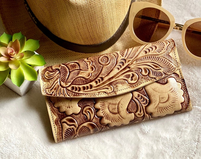 Handmade leather woman wallet -Women's wallets - floral wallet women - Leather wallet women's- gifts for her- gift for mom