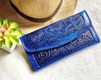 Western leather wallet woman- Blue woman wallet - Valentines day gift