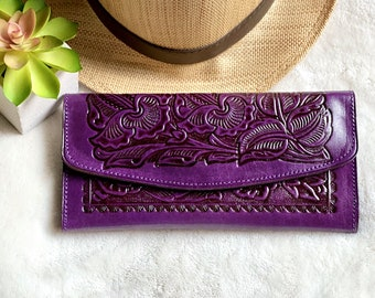 Purple Western Wallet - Carved Leather Wallet  -  Leather wallet women - Gifts for her