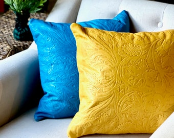 Handmade Decorative leather pillow covers- Housewarming gift