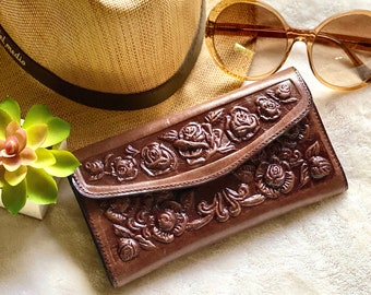 Handmade leather woman wallet - Roses leather wallet - Wallets for women