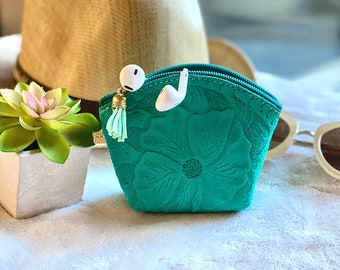 Coin Purse leather- Small Leather pouch- Gift for her - Essential oil pouch -  Pouch Bag - Hibiscus small bag
