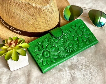 Bifold Sunflowers Leather Wallets for Women * Handmade Leather Woman Wallet * Birthday Gift