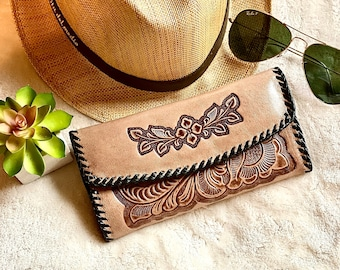 Leather wallet for women - Handmade woman wallet - Leather wallet women's - Western wallets - Bohemian wallet